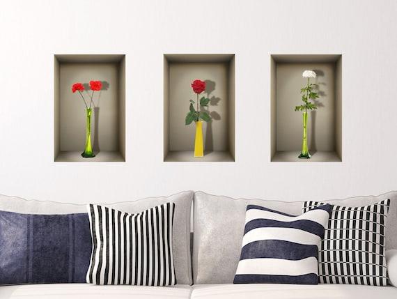 Decalcomanie Da Muro Di Nicchia 3d Vasi Di Fiori Da Salotto Camera Da Letto Ufficio Adesivi 3d 3d Stickers Adesivi Murali Adesivi In Vinile