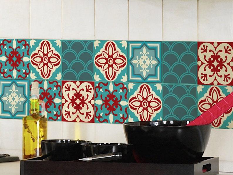 Tile decals SET of 15 tile stickers TURQUOISE RED kitchen tiles,bathroom decal,backsplash decal,vinyl decal,vintage design