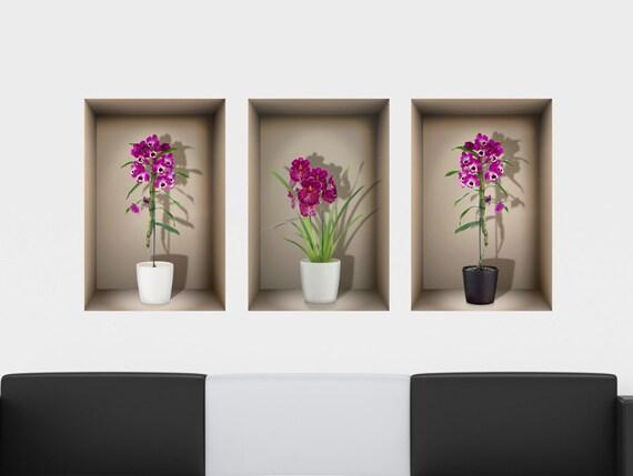 Paarse Decoratie Woonkamer : D niche muur sticker paarse orchideeën voor woonkamer etsy