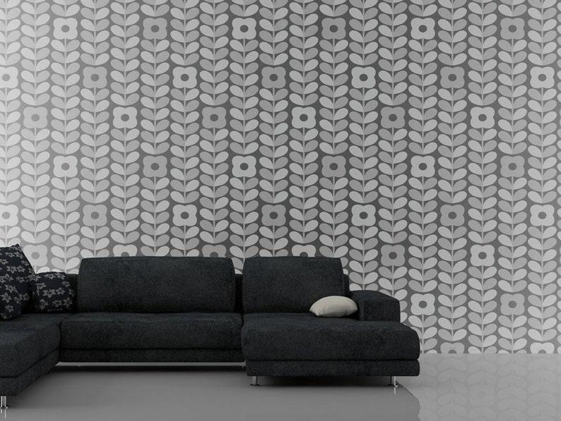 Zelfklevend behang grijs bloemen kwaliteit vinyl etsy