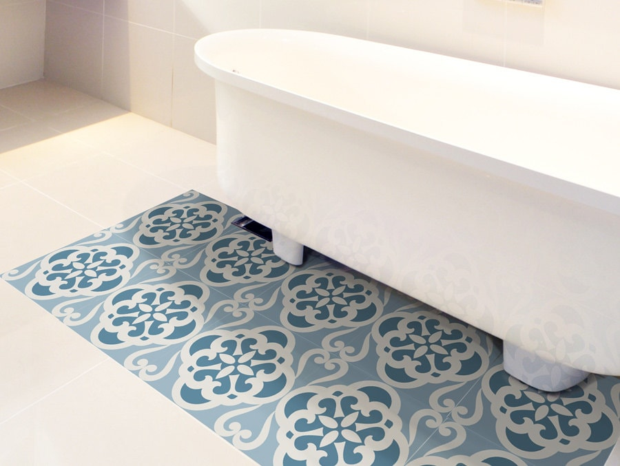 Floor Tile Decals Set Of 15 With Calm Blue Pattern Floor Etsy