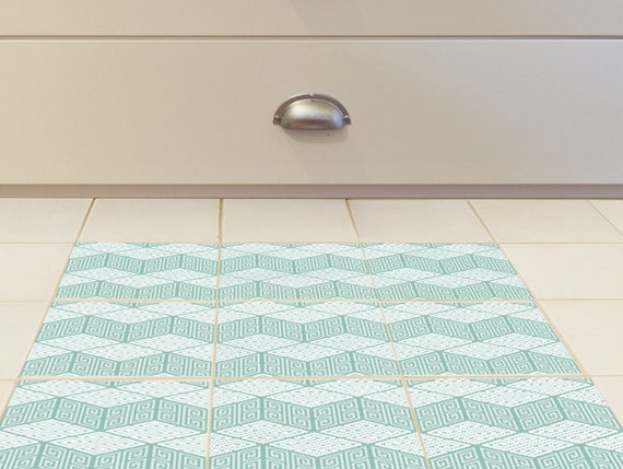 Badkamer Tegel Stickers : Vloer tegel stickers set van met groene geometrische etsy