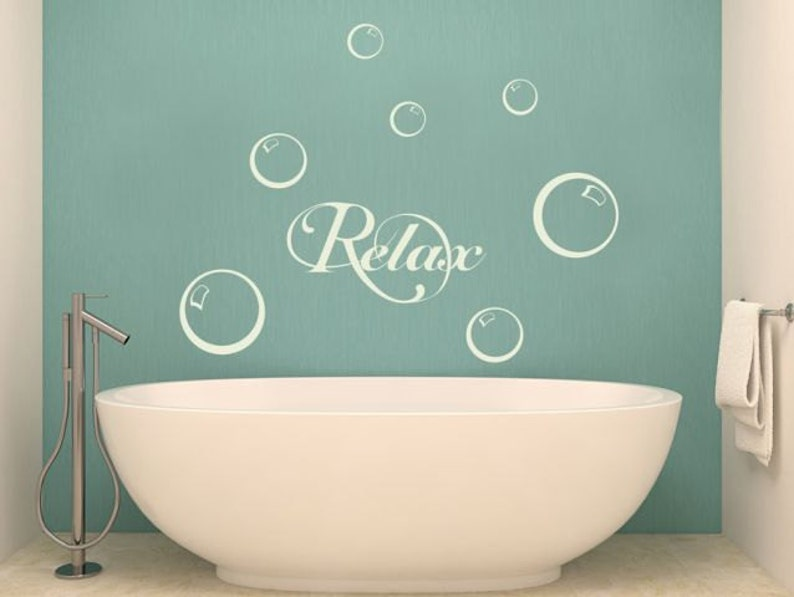wall decal relax bubbles 2 wall stickers for bathroom | etsy