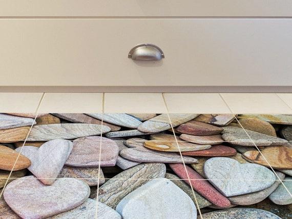 Fußboden Fliesen Aufkleber ~ Boden fliesenaufkleber set von für bad wc stein herzen etsy