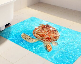Floor tile decals SET of 15 friendly turtle for bathroom, vinyl stickers,tile stickers,turtle decal,vinyl decal, bathroom tile