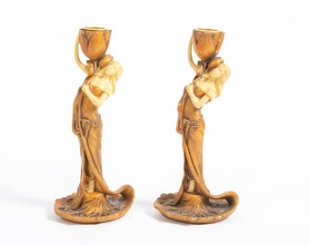 Art nouveau double-patterned vegetable hairpeat in silver or gold bronze