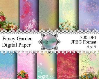 Fancy Garden Paper - Fancy Paper Printable - Fancy Garden Digital Paper - Pattern Paper Printable - Digital Pattern Paper - Download