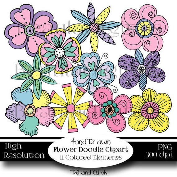 Borders paper flowers hand drawn doodle clip art set in etsy image 0 mightylinksfo