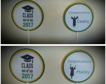 Graduation Party Cupcake Toppers - High School Graduation Cupcake Toppers - College Graduation Cupcake Toppers - Set of 12