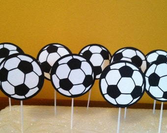 SOCCER BALL Cupcake Toppers Set of 12