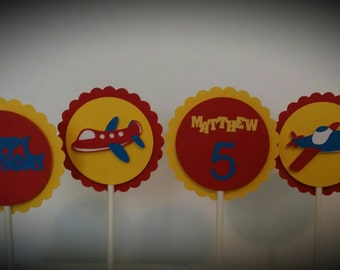 Birthday Party Cupcake Toppers - Airplane Cupcake Toppers  - Plane Cupcake Toppers - Cupcake Toppers Set of 12