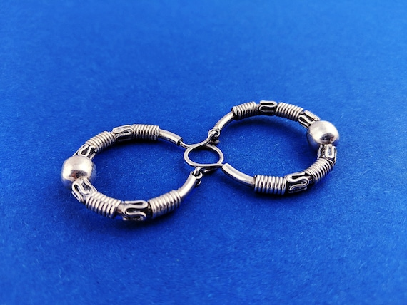 Wrapped Wire Hoop Earrings // Sterling Silver Boho