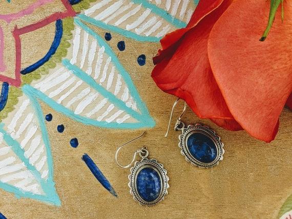 Oval Lapis Lazuli Earrings // Himalayan Lapis // L