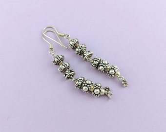 Sterling Silver Dangle Earrings // Classic Silver Dangle Earring for Her // Designer Bead Long Earrings // Classic Style Gift for Her
