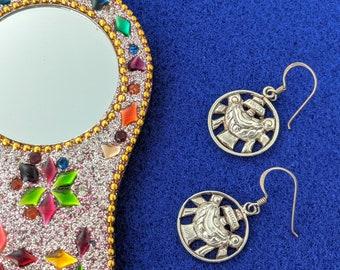 Vintage Tibetan Buddhism Treasure Vase Earrings // Himalayan Eight Auspicious Symbols Earrings // Sterling Symbol Of Health And Prosperity