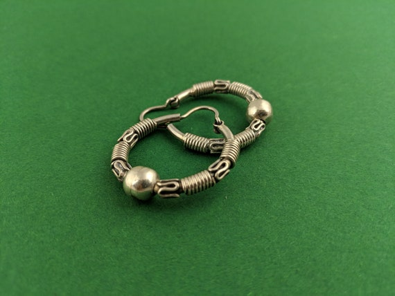 Wrapped Wire Hoop Earrings // Sterling Silver Boh… - image 3