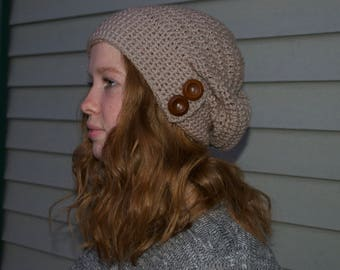 Crocheted Slouchy Beanie with Buttons