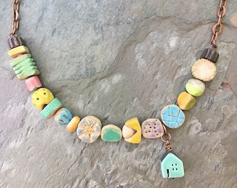 OOAK Ceramic Beachy Colorful Necklace, Jubilee Ceramics, Boho Unusual Short Necklace, House Necklace, Bohemian Eclectic Summer Jewelry