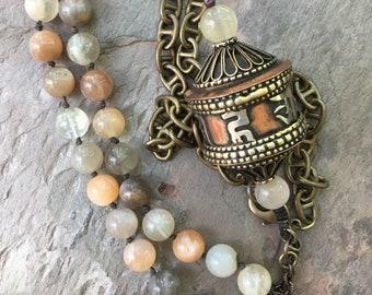Tibetan Prayer Wheel Necklace, Natural Stone Moonstone Necklace, Stone Prayer Wheel Necklace, Buddhist Spiritual Necklace, Bohemian Jewelry