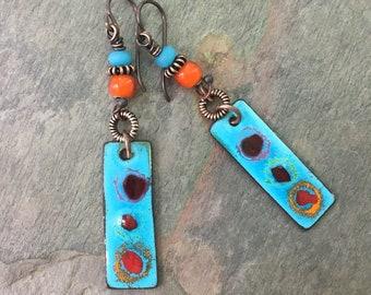 Rustic Boho Copper Earrings, BlueHare Dangle Earrings, Boho Bohemian Niobium Earrings, Festival Jewelry, Summer Jewelry, Eclectic Earrings
