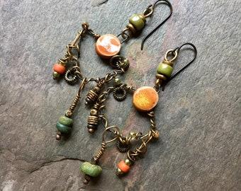 Artisan Earrings, Hippie Gypsy Earrings, Unusual Earrings, ScorchedEarthOnEtsy, Boho Earrings, Mixed Metal, SheFliesAgain, Dangle Earrings