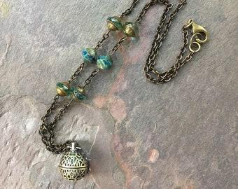 Lava Brass Diffuser Necklace, Aromatherapy Jewelry, Yoga Meditation Essential Oil Diffuser Necklace, Boho Bohemian SheFliesAgain