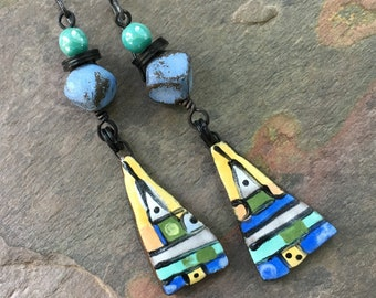 Lightweight Abstract Geometric Artisan Earrings, Boho Bohemian Hippie Gypsy JosephineBeads, Eclectic Jewelry, Handmade Dangle Earrings