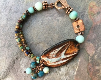 Bird Ceramic FoxPaws Bracelet, Natural Stones Amazonite, Boho Bohemian Jewelry, Artisan Bracelet, OOAK, Unusual Bracelet, Bohemian Eclectic