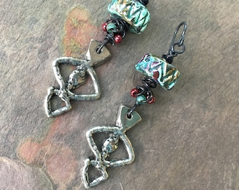 Rustic Tribal Ceramic Artisan Earrings, Inviciti JosephineBeads, Boho Bohemian Hippie Gypsy Tribal Earrings, SheFliesAgain, Eclectic Jewelry