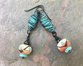 Lampwork Glass Sari Silk Earrings, Tribal Rustic Boho Earrings Festival Jewelry, Outwest Sagahus, Bohemian Summer Colorful Eclectic Jewelry