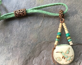 Diffuser Necklace, Aromatherapy Diffuser Necklace, Hummingbird Dragonfly Yoga Tribal Meditation Jewelry, Boho Southwest Necklace, EarthnOils