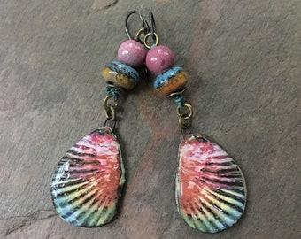 Ceramic Colorful Earrings, Boho Unusual Earrings, Summer Jewelry, Bohemian Hippie Gypsy Jewelry, Lightweight Earrings, ScorchedEarthOnEtsy