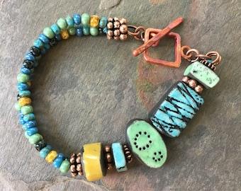 Colorful Summer Bracelet, Boho Raku Ceramic Beachy Bracelet, Bohemian Hippie Gypsy OOAK Bracelet, Unusual Artisan Beaded Bracelet, Jubilee