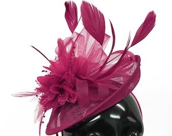 76879c64545d9 Caprilite Disc Saucer Sinamay Fuchsia Hot Pink Fascinator on Headband Alice  Band Wedding Ascot Races