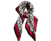 70cm x 70cm Black Red Flower Pattern Square Scarf Big Ladies Womens Faux Silk Head Neck Thin Bag Charm
