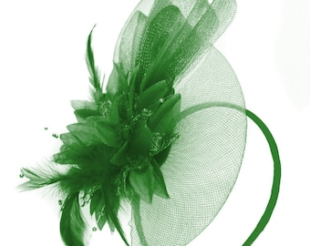 Caprilite Jade Emerald Green Flower Veil Feathers Fascinator On Headband  Wedding 12fac23b37e5