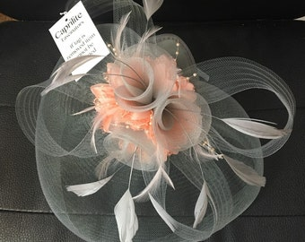 Caprilite Silver Grey and Peach Pink Fascinator Hat Veil Net Hair Clip  Ascot Derby Races Wedding Headband Feather Flower 210cbb62202f