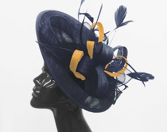 Caprilite Big Saucer Sinamay Navy Blue   Mustard Gold Mixed Colour  Fascinator On Headband Wedding Derby Ascot Races Ladies db4fd6e336a6