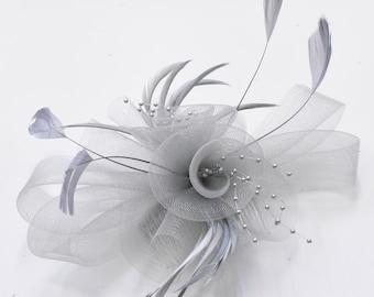f5acf2e26233b Caprilite Grey Silver Fascinator on Comb UK Wedding Ascot Races Loop