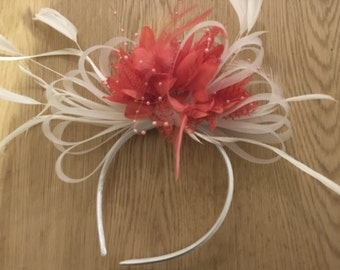 Caprilite White   Coral Fascinator on Headband for Weddings and Ascot Races 93dcf90ed4a
