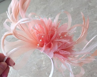aed29be6f4f6d Caprilite All Nude Salmon pink Peach Fascinator on Headband Alice Band UK  Wedding Ascot Races Loop