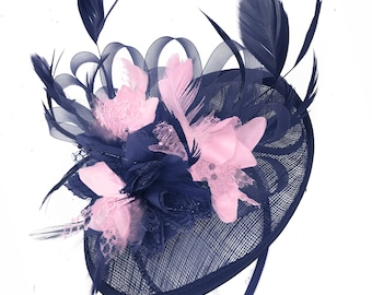Caprilite Sinamay Navy Blue and Baby Pink Disc Saucer Fascinator Hat for  Women Weddings Headband 06693d7db5d