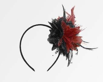 Caprilite Black and Wine Red Burgundy Fascinator Black Headband Clip Comb  Flower Corsage 77e32a4879a