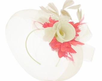 4fbf1b1233d1d Caprilite Cream and Coral Fascinator on Headband Veil UK Wedding Ascot Races  Hatinator Women