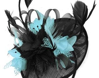 500ea8df8c5c1 Caprilite Black and Light Turquoise Sinamay Disc Saucer Fascinator Hat for Women  Weddings Headband