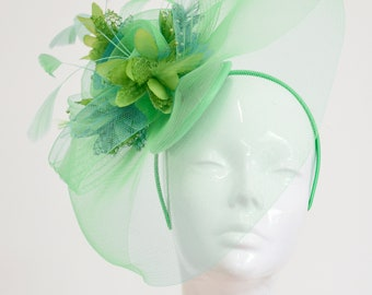 Lime Green Orchid Flower Pillbox Hat Fascinator Headpiece Races Rockabilly 2062