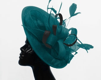 cd3615f6a780b Caprilite Big Saucer Sinamay Teal Turquoise   Black Mixed Colour Fascinator  On Headband Wedding Derby Ascot Races Ladies Hat