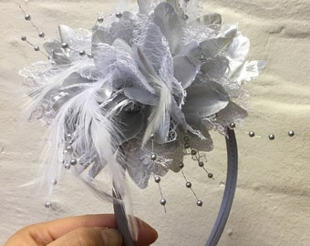 Caprilite Silver Fascinator Headband Hair Band Flower Corsage 4d75b5a34a10