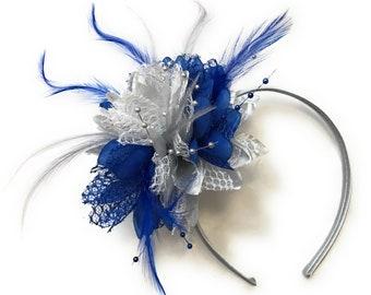 b1a5e395c9e54 Caprilite Silver and Royal Blue Fascinator on Headband Alice Band Wedding  Party Ascot Races