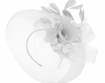 d2cccc5e83a3a Caprilite White and White Fascinator on Headband Veil UK Wedding Ascot Races  Hatinator